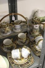 20th cent. Ceramics: Japanese eggshell tea/coffee and sandwich set gilt and