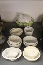 20th cent. Ceramics: Individual jelly moulds, 2 with firing cracks. All dif