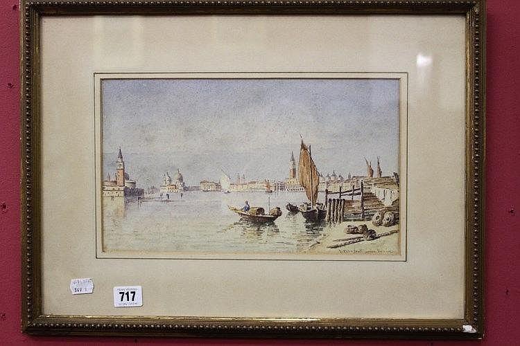 Joannes Vervleot Jnr: Watercolour of Venice Venetian lagoon. Framed and gla