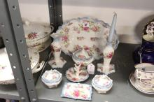 Late 19th/early 20th cent. Ceramics: Dressing table set - tray, candle hold