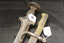 Edged Weapons: 19th cent. Indian Tulwar steel blade & grip 35ins. plus a Fr