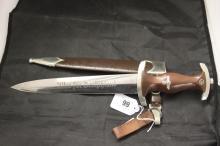 Third Reich: Good SA dagger with partially erased legend, with original sca