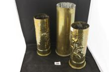 Military Trench Art: WWI Brass shell case vases, 1 British and 1 French 9in