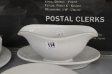 Third Reich/WW2: Wehrmacht ceramic sauce boat, bowls (2) and a side plate,
