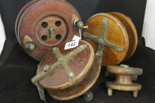 Sea Fishing Accessories - Nottingham style wooden fishing reels 6ins, 5ins