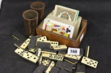 19th cent. Games: Incomplete set of bone and ebony domino's, bamboo dice sh