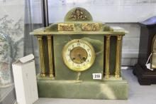 Clocks: Green Onyx and gilt metal mantle clock classical style French movem