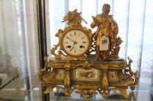 Clock: 19th cent. Henry Marc, Paris, gilt metal mantle timepiece. Floral ce