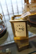 Clocks: 20th cent. French brass carriage clock.
