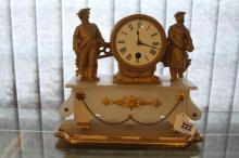 Clocks: Late 19th cent. Honore Pons, Paris gilt ormolu mantle clock, flanke
