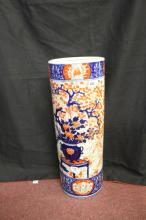 19th cent. Japanese Imari cylindrical stick stand - unsigned base. (crack t