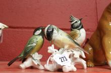 20th cent. Ceramics: Karl Enns bird ornaments Coal Tit, Great Tit and Crest