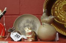 20th cent. Ceramics: Poole dish depicting a mousse and a snail 5ins. Brown