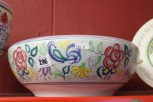 Poole 1959-67 oval mark floral bowl X/LE pattern possibly Gwen Haskins. 12i