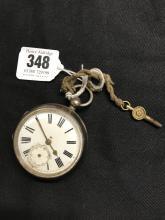 Hallmarked Silver: Cased fob watch, key wind movement.