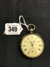 Hallmarked Silver: Cased fob watch with key wind movement, Kay & Company.