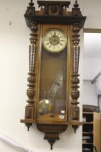 Clocks: Mahogany Vienna regulator wall clock, split baluster columns.