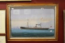 19th cent. English School: Primitive watercolour maritime study of SS Wave