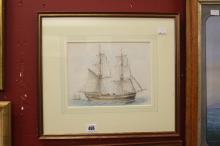 G Kennion 1744-1809 watercolour study of a 2 masted sail boat signed on rev