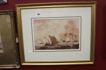 Thomas Webster watercolour, a study of boats unloading a 3 master in rough