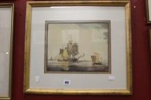 William Anderson 1759- 1837 watercolour, a study of ships under sail, frame