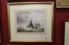 English School: Watercolour lobster boat bring in the pots, signed lower le