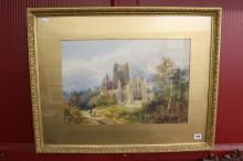 English School watercolour study of a ruined Abbey, framed and glazed 20½in