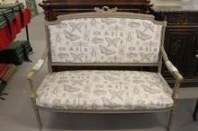 19th cent. Retro painted two seater salon sofa with linen butterfly print u