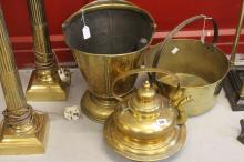 19th cent. Brass Ware: Helmet shaped oak scuttle, a preserving pan and a la