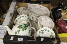 20th cent. Ceramics: Royal Osborne part teaset, cups, saucers, side plates