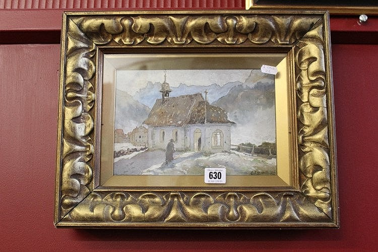Charles Jeffcock watercolour Alpine Chapel with f