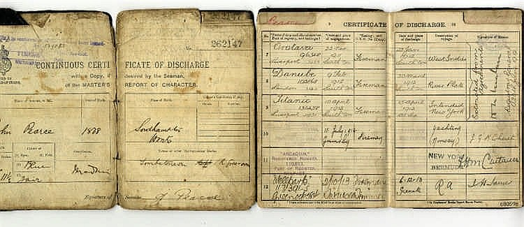 R.M.S. TITANIC: Continuous Certificate of Discharge books to Tita