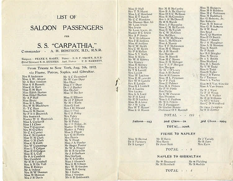R.M.S. CARPATHIA: Unusual Cunard Line passenger list S.S. Carpath