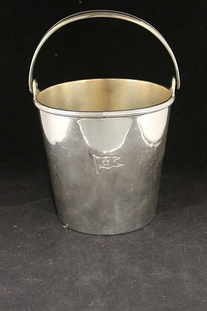WHITE STAR LINE: First Class Elkington plate ice bucket and liner