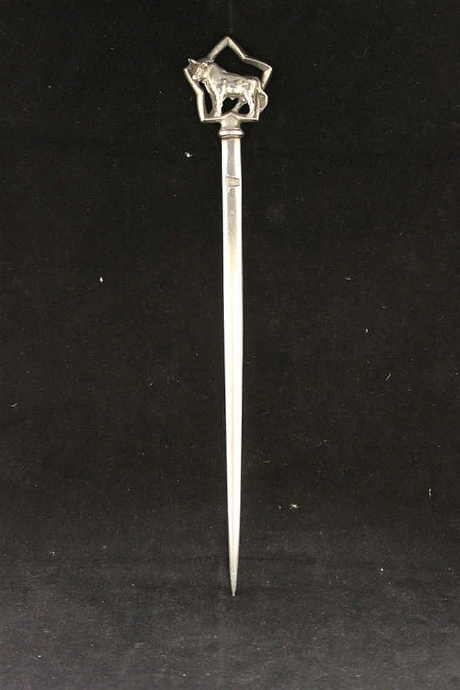 WHITE STAR LINE: Rare First Class Elkington plated beef skewer wi
