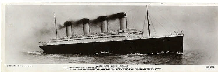 R.M.S. TITANIC: Book post-disaster card. The ill-fated White Star