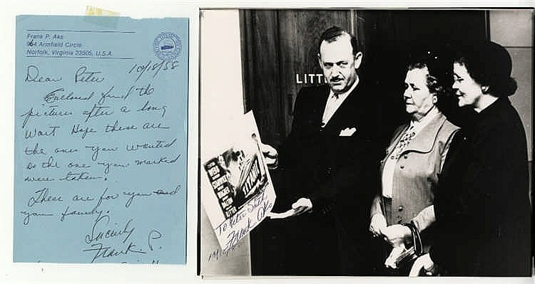 R.M.S. TITANIC: Titanic survivor Frank Aks signed photos of Mr Ak