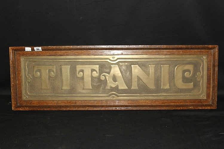 R.M.S. TITANIC: Post-war stylised brass sign Titanic on oak backi