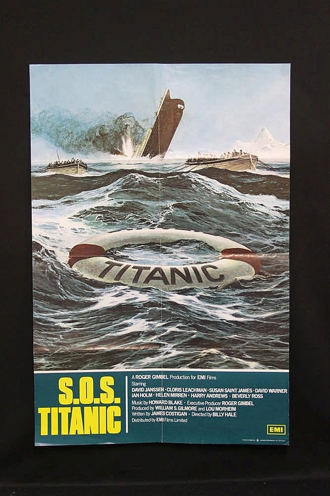 R.M.S. TITANIC: Lobby poster for SOS Titanic. 27ins. x 40ins.