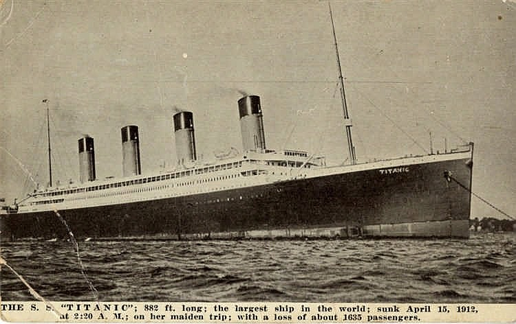 R.M.S. TITANIC: Kraus American post-disaster postcard, some creas