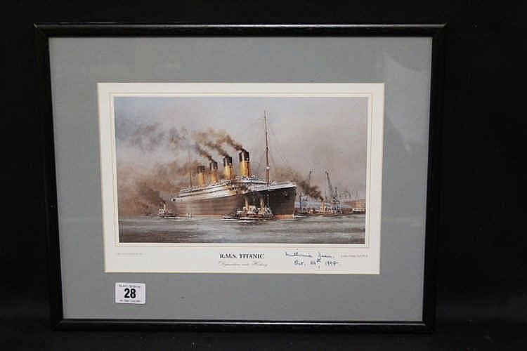 R.M.S. TITANIC: Colin Verity print Departure into History signed