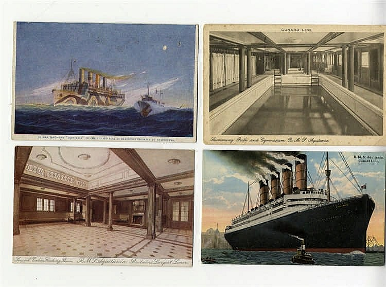 OCEAN LINER: Album of period Cunard Line postcards featuring Aqui