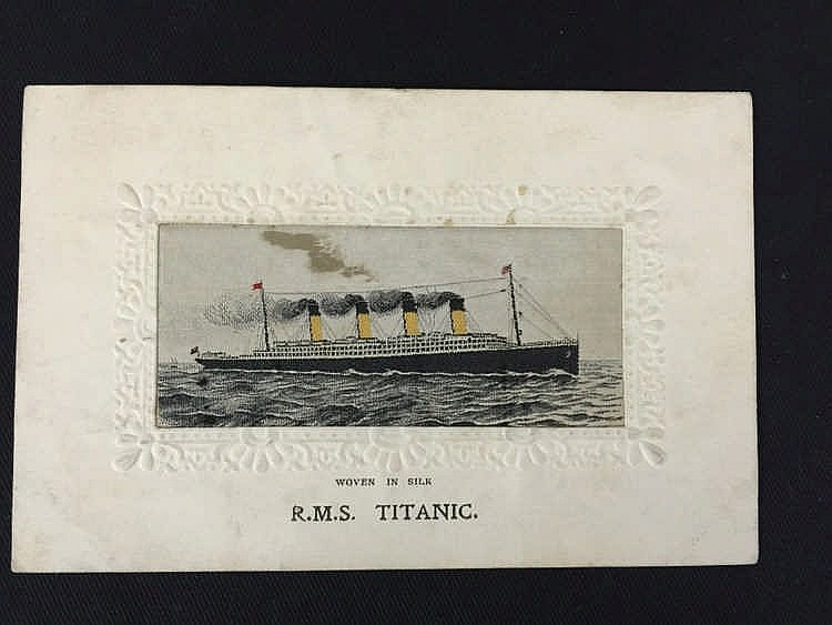 R.M.S. TITANIC: Unusual silk postcard of the liner at sea, unrel