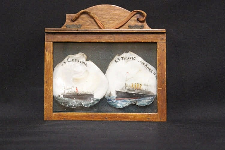 R.M.S. TITANIC: Rare post-disaster naive hand-decorated shells de