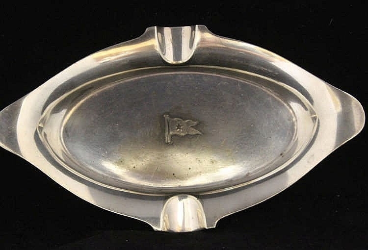 WHITE STAR LINE: Elkington plate First Class oval ashtray, burgee