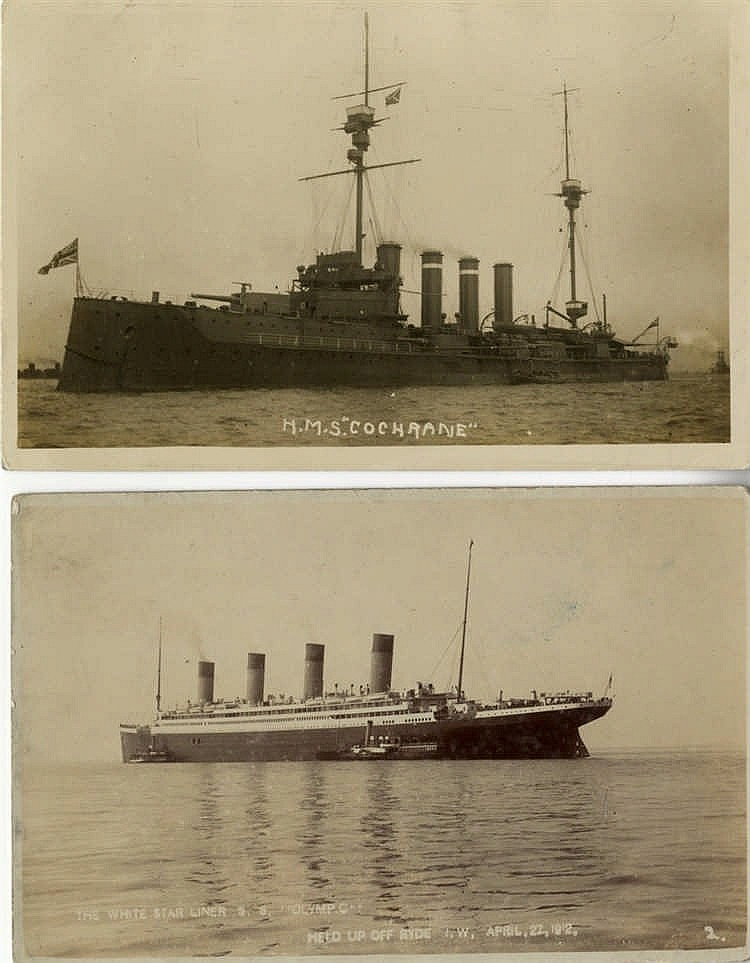 R.M.S. OLYMPIC: Photographic postcard of Olympic anchored off Ryd