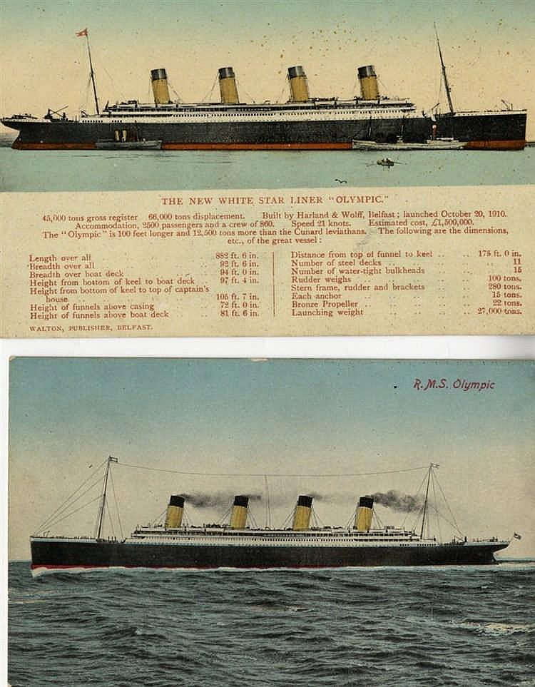 R.M.S. OLYMPIC: Real photo and other postcards including pre-maid