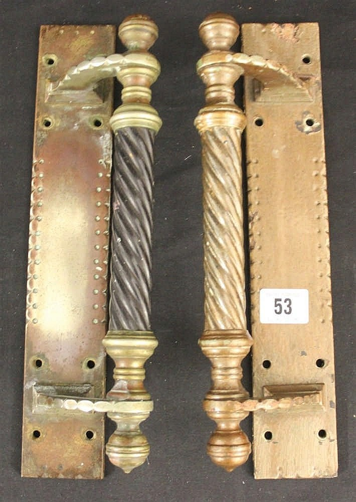 R.M.S. OLYMPIC: Pair of elaborate brass door handles and plaques