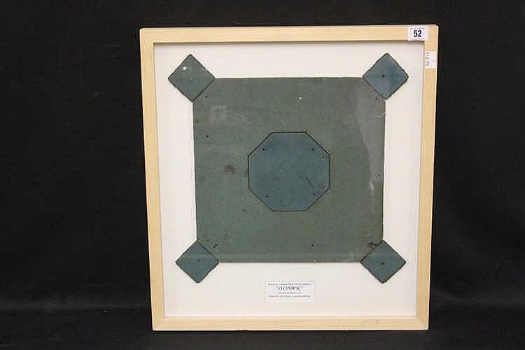 R.M.S. OLYMPIC: Linoleum floor tile. Framed and glazed 12ins. x 1