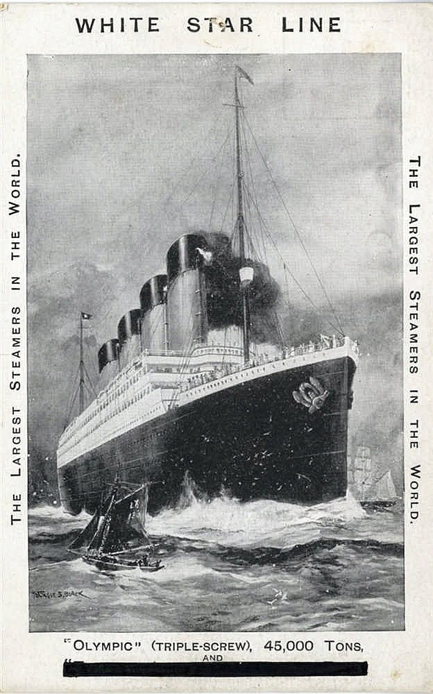 R.M.S. TITANIC: Montague Black artist's impression of Titanic/Oly